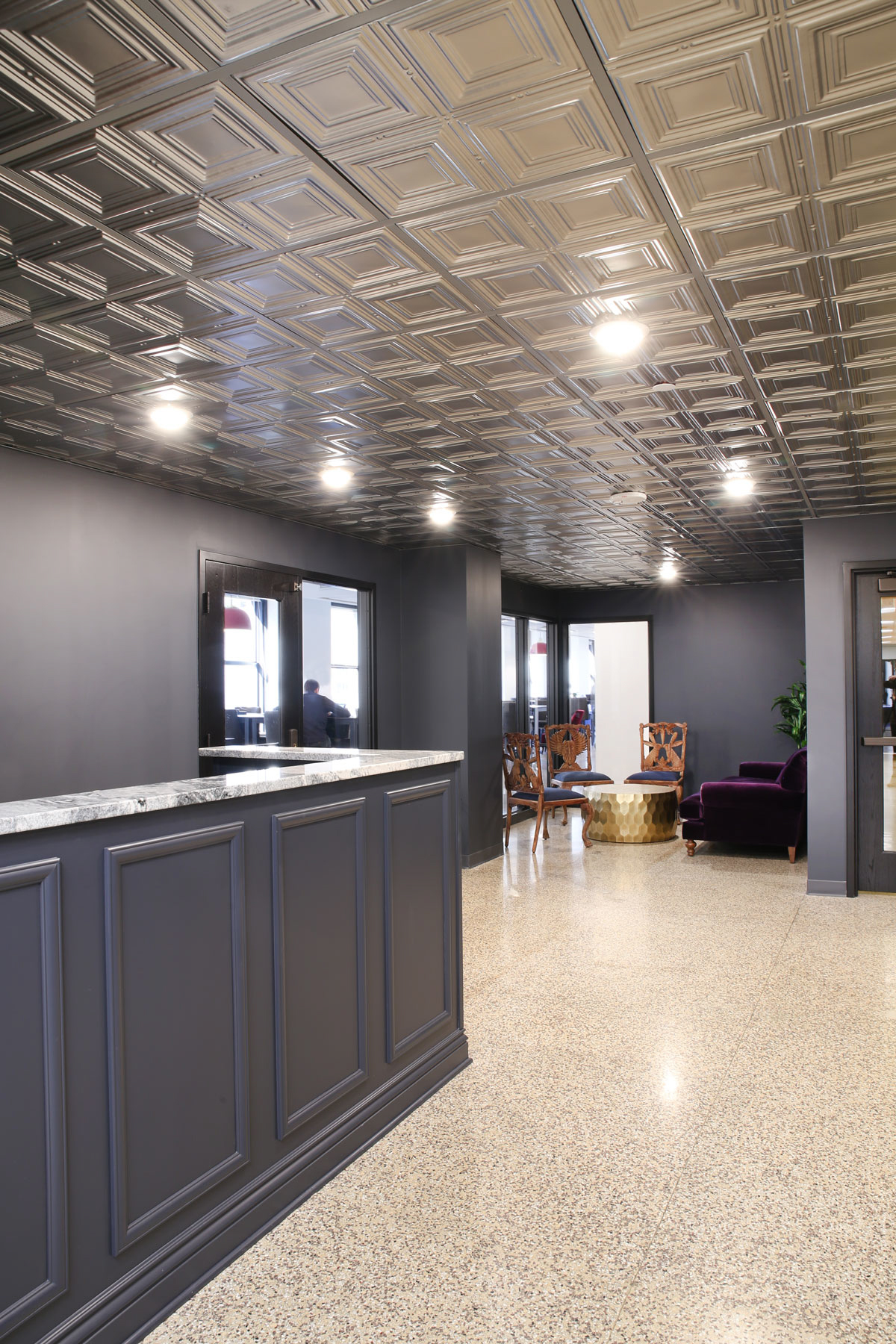 The open reception area at COCO in Minneapolis, Minnesota, furnished by iSpace Environments.