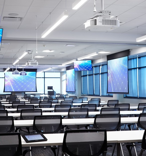 iSpace Environments modernized this meeting area with updated AV solutions to increase presentation efficiency.