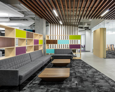 Comfortable seating throughout the office space encourages healthy work habits for employees at Fish & Richardson in Minneapolis, Minnesota.