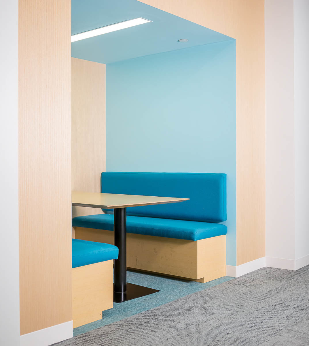 Bright colored finishes provide a vibrant work area for everyone at Fish & Richardson in Minneapolis, Minnesota.