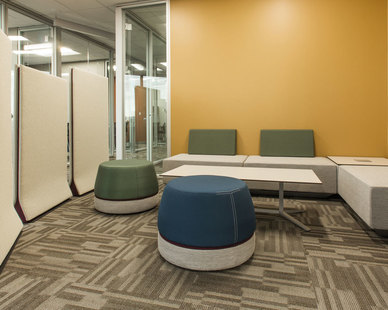 Versatile meeting spaces encourage productive collaboration at ISG in Bloomington, Minnesota, furnished by iSpace Environments.
