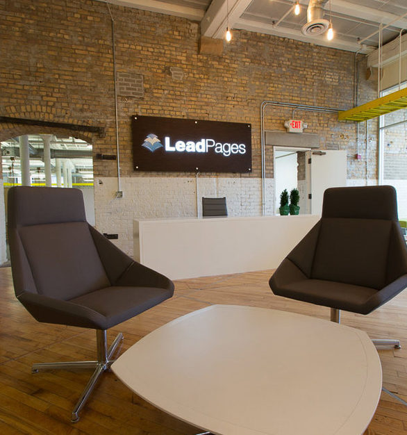 The versatility of contemporary furniture boosts the office space designs at LeadPages in Minneapolis, Minnesota, furnished by iSpace Environments.