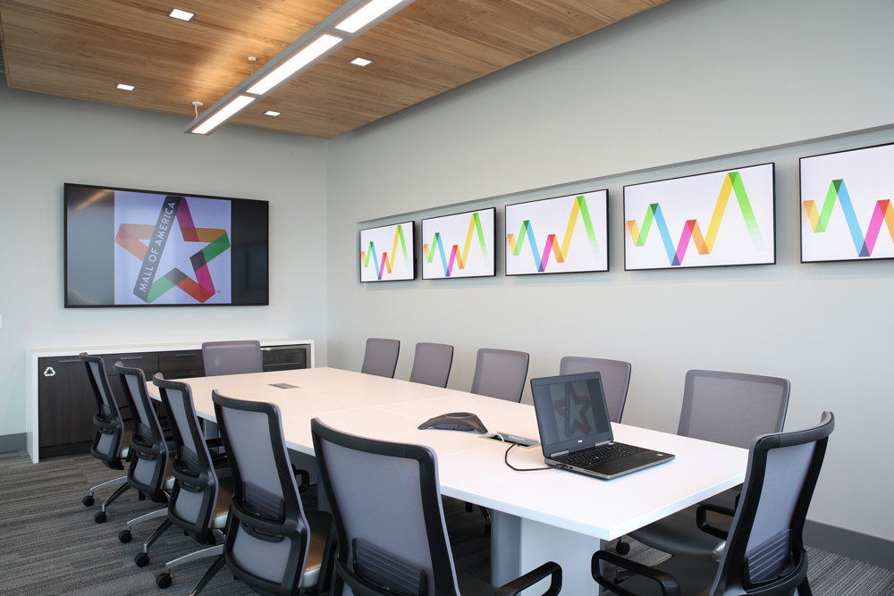 Selecting the right pieces of technology and furniture helps represent your company brand. The technology and furniture needs at the Mall of America offices were complete by iSpace Environments.