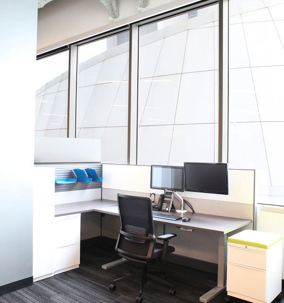 The expansive windows allows ample light to flow into the work space furnished by iSpace Environments at the Mall of America in Bloomington, Minnesota.