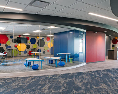 Renovations to the daycare, children's ministry areas, classrooms, and offices kicked off the first phase of the church's renovations. Church leaders sought to provide fully-functional and flexible environments with a refreshed aesthetic. Age group ministry rooms are easily delineated by youthful, color-themed finishes, while shared spaces integrate these color themes into a unifying array. Furniture selections from Smith-System, Sit-On-It, Allermuir, AIS, Demco, and Jonti-craft support these themes with fun accents and patterns. Phase two then included a new entrance and café space designed to allow for flexibility based on various activities.