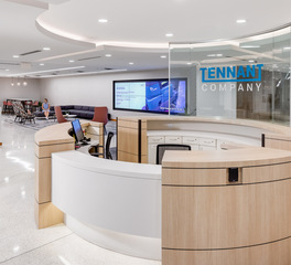 iSpace Environments Tennant Company Eden Prairie Minnesota Office Reception Desk Wood Finish and Design