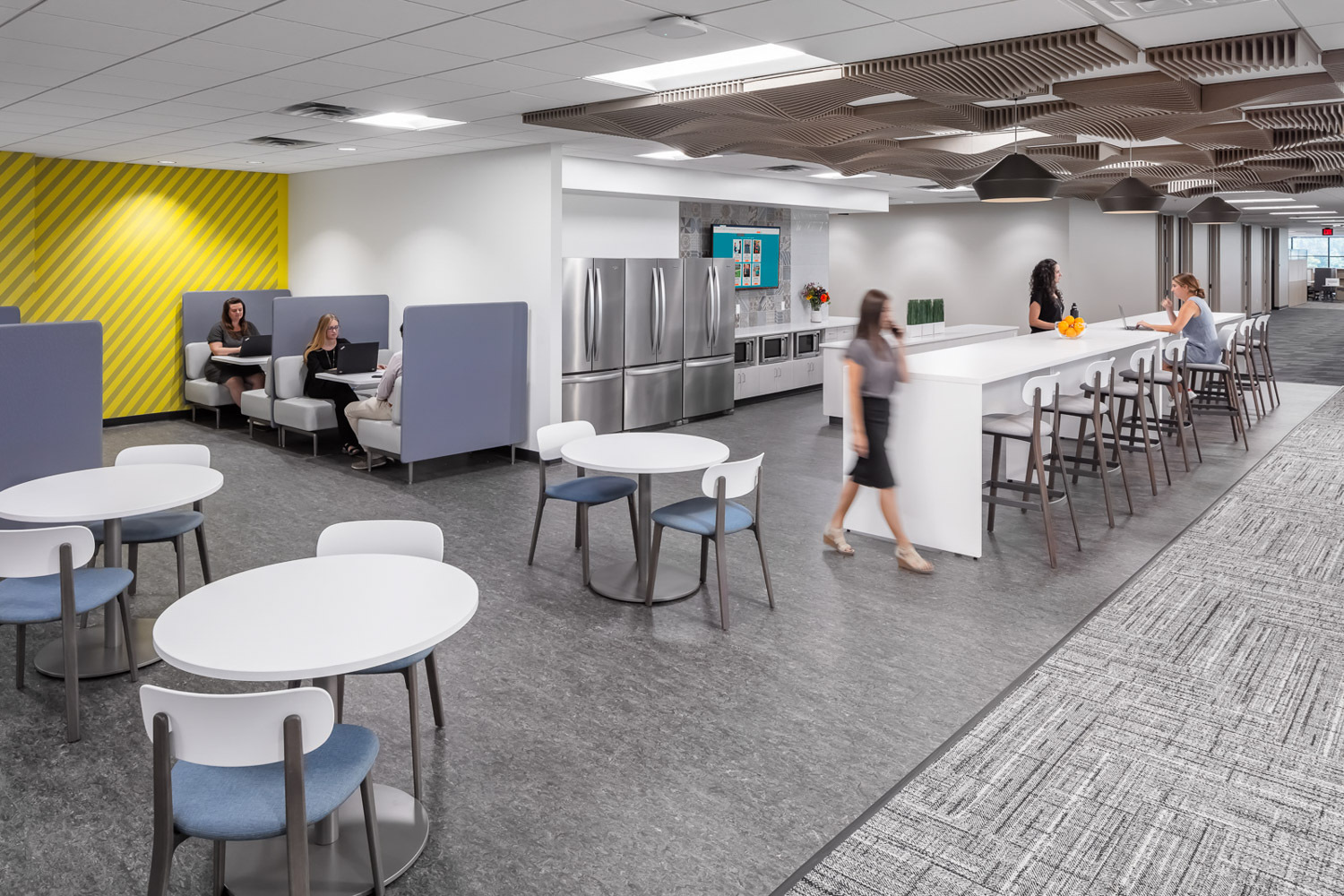 iSpace Environments Tennant Company Eden Prairie Minnesota Office Work Lounge Ceiling Acoustical Panels and Kitchenette