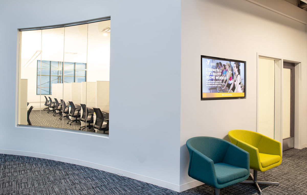 A waiting area at the YMCA headquarters using furniture provided by iSpace Environments.