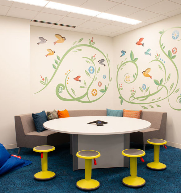 Creative workspace available at the YMCA headquarters in Minneapolis, Minnesota, using furniture through iSpace Environments.