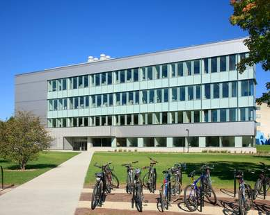 The modern glass exterior of ISU's Biorenewables Research Laboratory in Ames, Iowa, by Stahl.