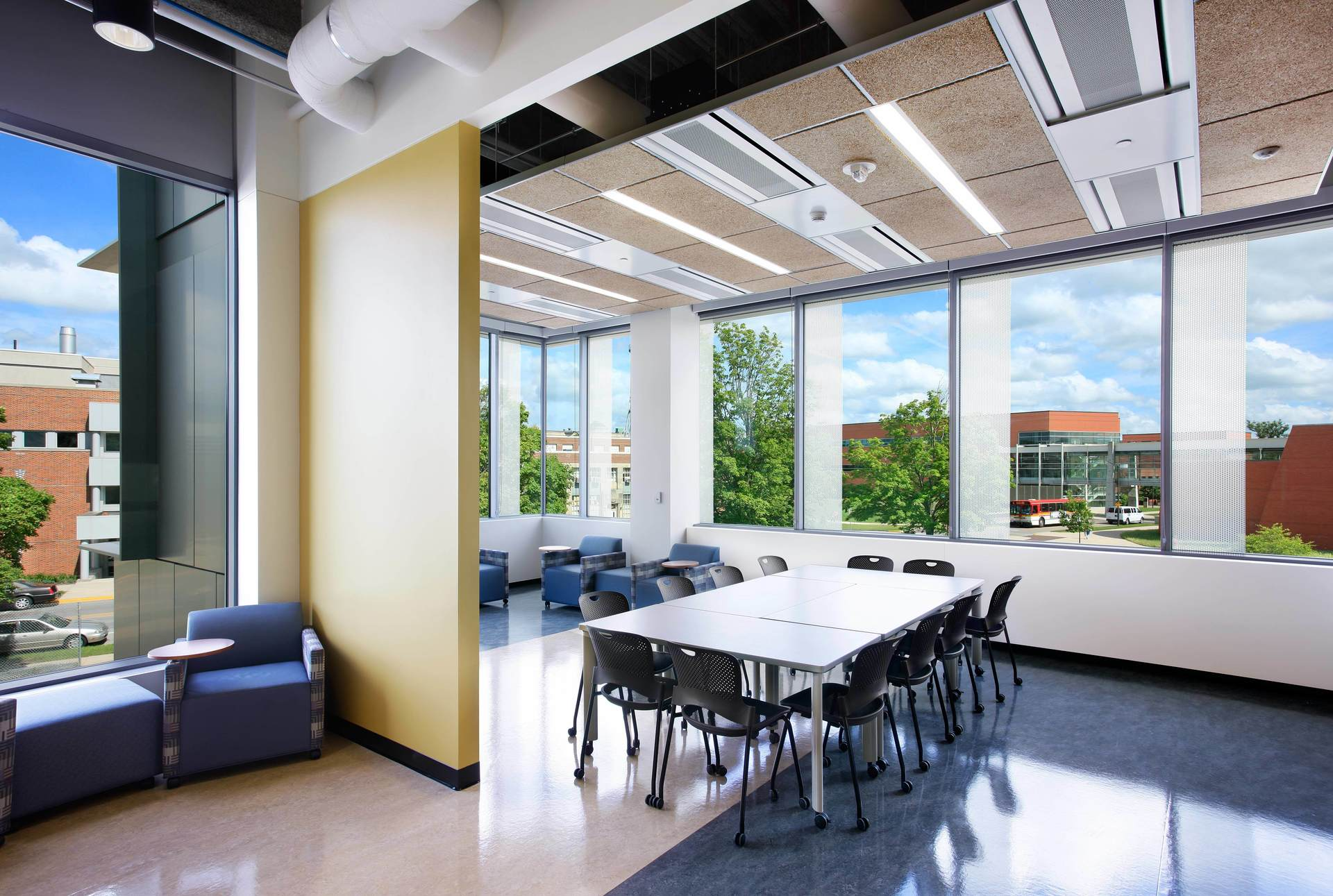 Expansive windows allows natural light to fill the space at the ISU Biorenewables Research Laboratory in Ames, Iowa, by Stahl.