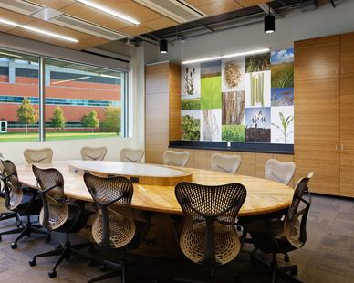 A luminous and welcoming conference room at the ISU Biorenewables Research Laboratory in Ames, Iowa, by Stahl.