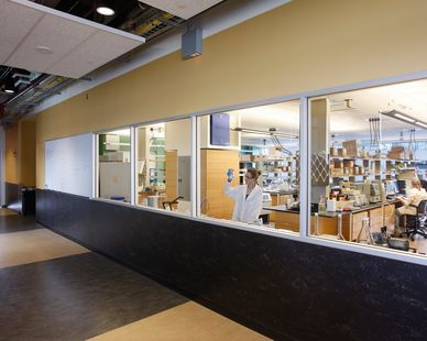 Oversized windows can create a modern finish to any space at the ISU Biorenewables Research Laboratory in Ames, Iowa, by Stahl.