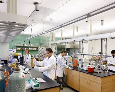 A spacious lab at the ISU Biorenewables Research Laboratory in Ames, Iowa, by Stahl.