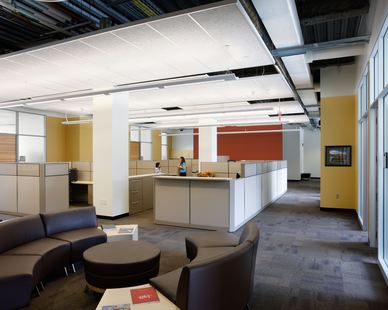 Open office spaces encourages collaboration and teamwork at the ISU Biorenewables Research Laboratory in Ames, Iowa, by Stahl.