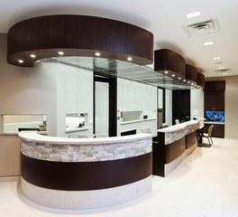 Jacaranda healthcare wenge quarter cut reception desks