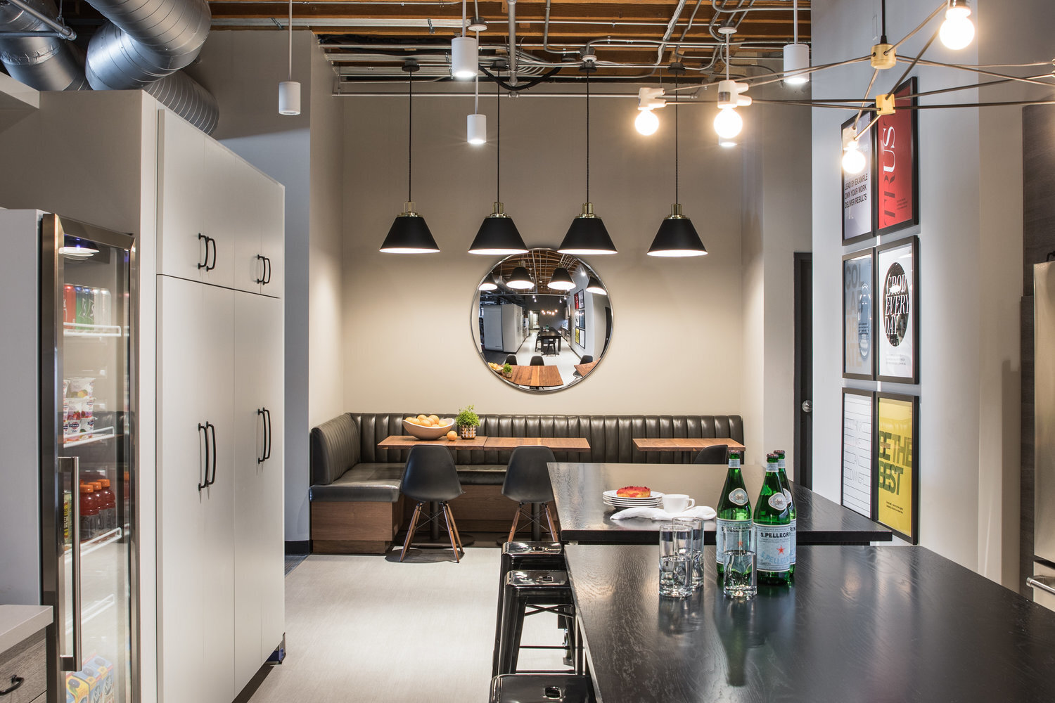 The roomy break room at the expansion of the Jackson Square Office in San Francisco, California, by Jennifer Tulley Architects.