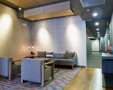 Jackson Square office lobby was created as the first glimpse of the office style while maintaining the necessary privacy for the work happening beyond, by Jennifer Tulley Architects.