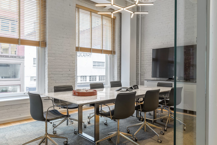 The spacious conference room at SOMA in San Francisco, California, by Jennifer Tulley Architects.