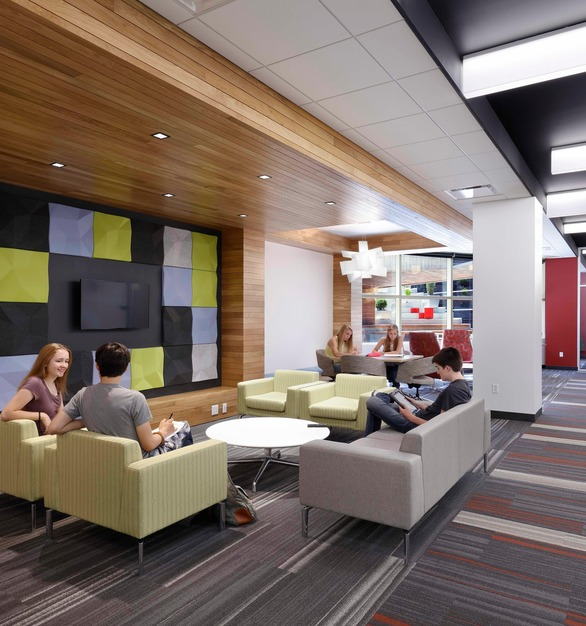 The updated student gathering space at the University of Iowa Boyd Law Building in Iowa City, Iowa. 3G Lighting and Focal Point Lighting were included in the project through JTH Lighting Alliance.