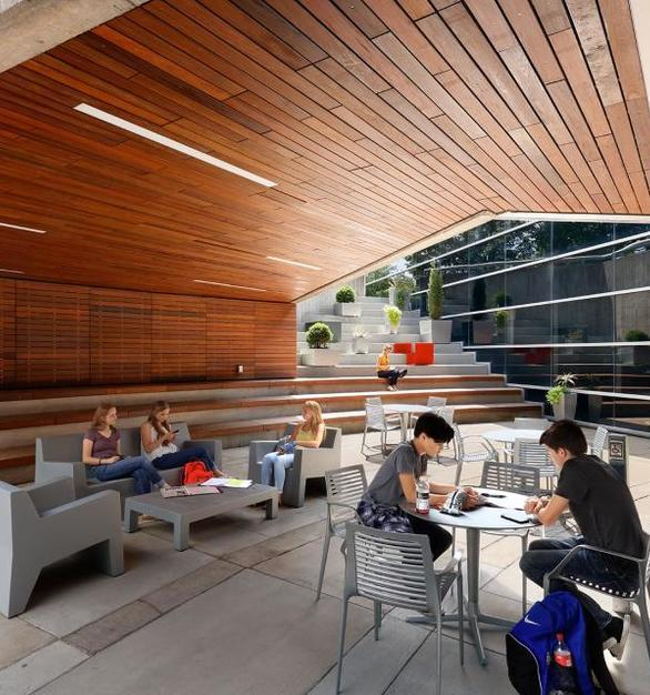 An open-air student commons area at Boyd Law Building at the University of Iowa.