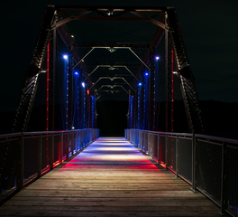 JTH Lighting Alliance Jurgensen Bridge Red and Blue Lighting