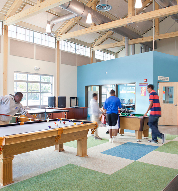 The Anschutz Center and the Vickers Boys & Girls Club, designed by OZ Architecture, earned the Mayor's Design in 2014 and is the fourth ground-up project for the Boys and Girls Clubs of Metro Denver that Kalwall has been involved with. 