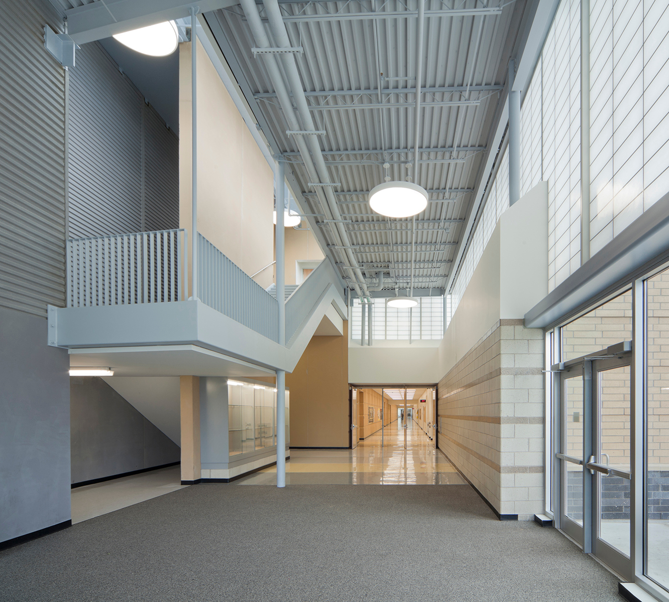 At Metea Valley High School, DLR Group chose to include Verti-kal™, a unique design variation on the standard shoji or square grid layouts of Kalwall Translucent Systems.  Photo credit: James Steinkamp Photography