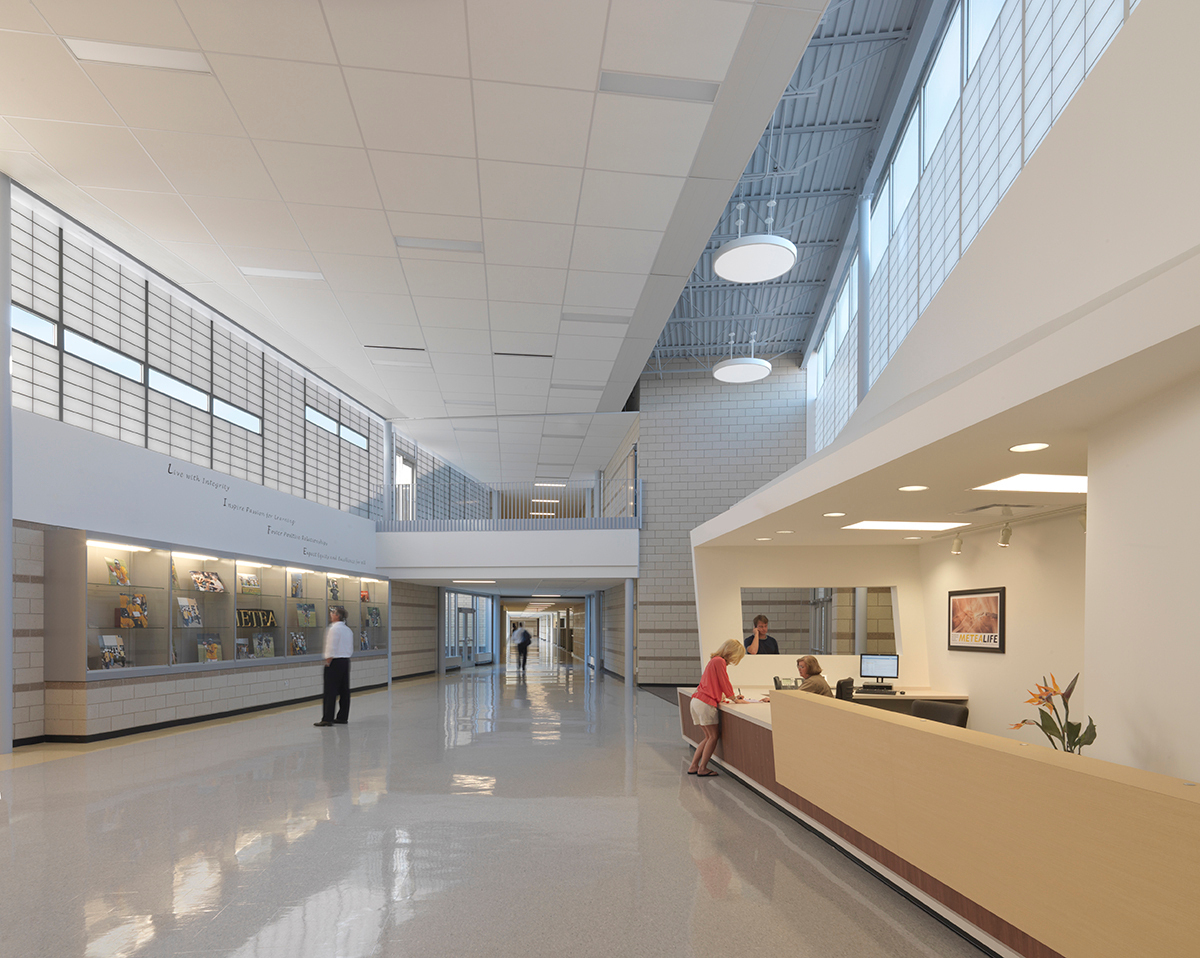 Upon coming through the school's main entrance, visitors are struck by the cheerful, airy, daylighted lobby.  Photo credit: James Steinkamp Photography