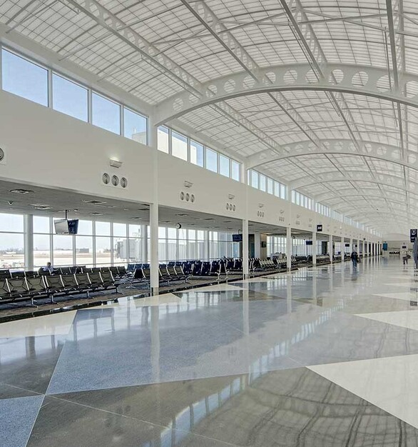 The terminal is a significant update for the regional airport with the latest in comfort and convenience. Concourse A is a new 45,000 SF expansion with 5 new gates, a dining room, a lounge, a gift shop, and a children's room.