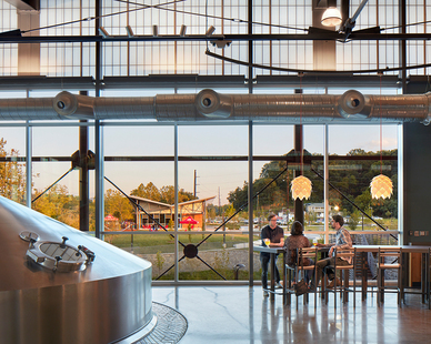 The panels are used in the clerestory of the brewery's Liquid Center tasting room and Brew House, as well as for the monitors inside the brewery's production area. The look is striking and in line with New Belgium's philosophy of creating a welcoming workplace.