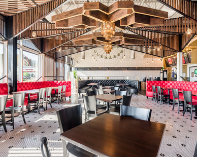 The unique ceiling design at Torchy's Tacos in Highlands Ranch, CO, gives the space a vibrant and upbeat atmosphere.