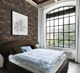 King Klinker Mocha Blend Bedroom Thin Brick Wall Interior Design
