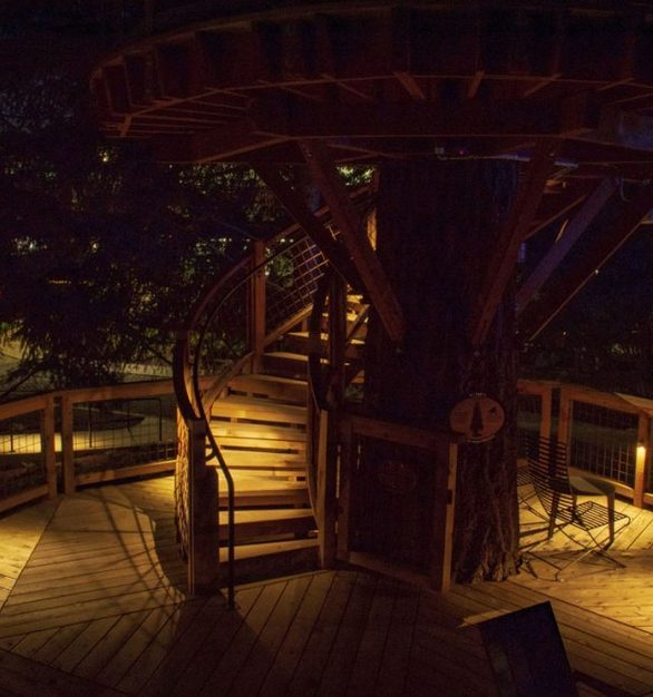 The creative use of lights gives a warm, inviting glow that does not detract from its surroundings at the Microsoft Treehouses in Redmond, Washington, featuring Klik USA LEDpod's in custom enclosures.