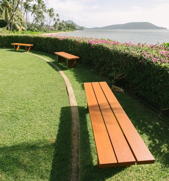Beautiful bench seating overlooking the ocean