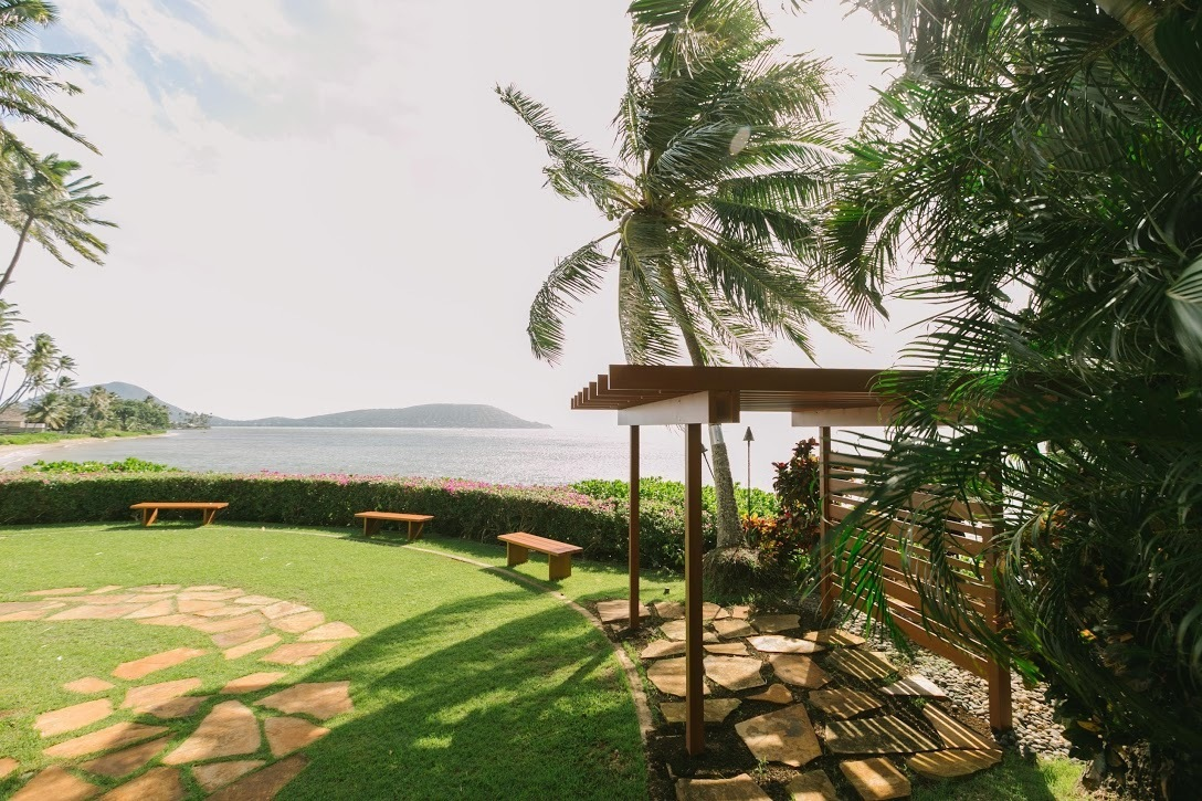Beautiful view of the ocean with Knotwood pergola and seating