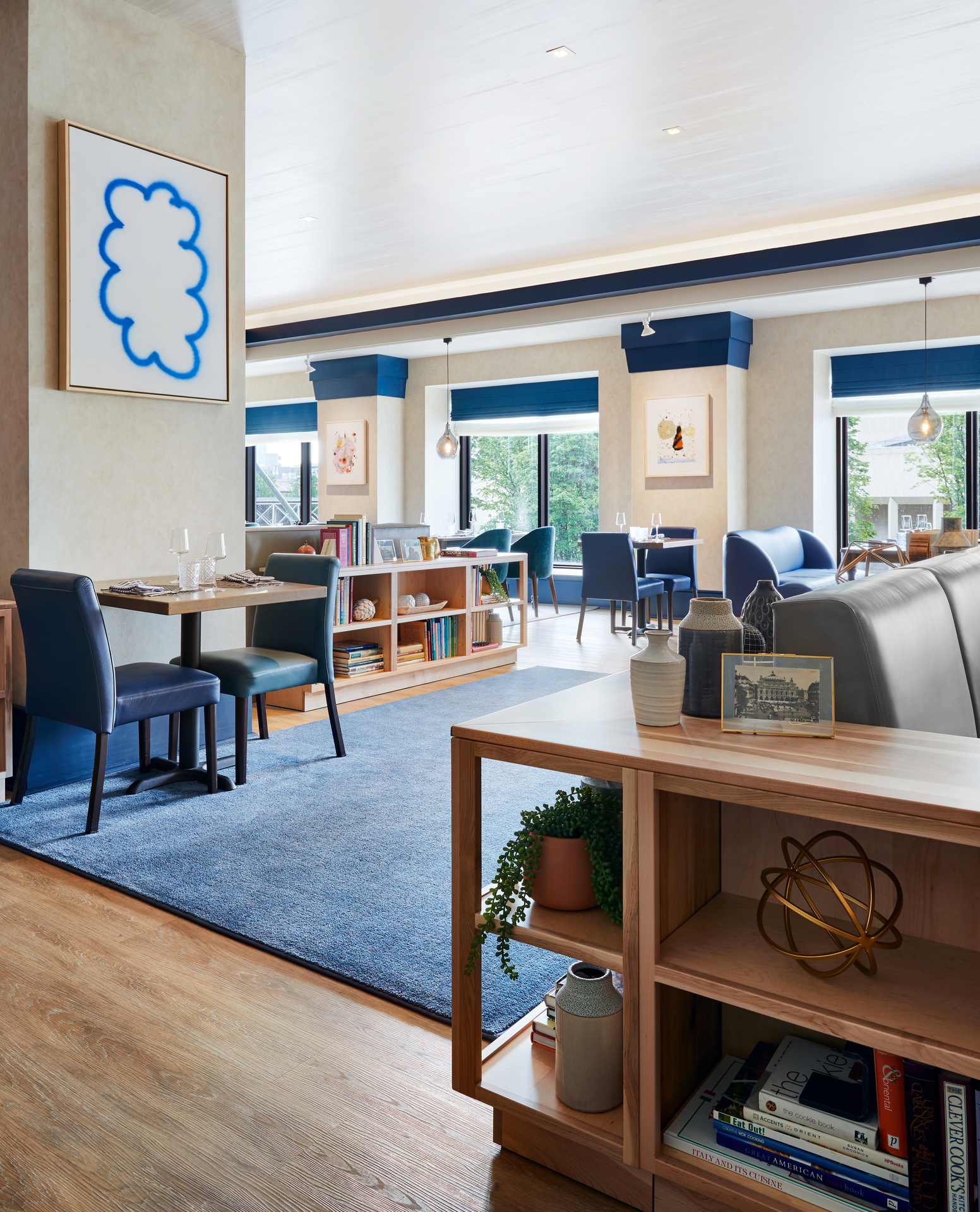 The finished spaces feature an ever-changing curated spread of contemporary art scattered throughout multiple floors and guest rooms designed to reflect the arts.