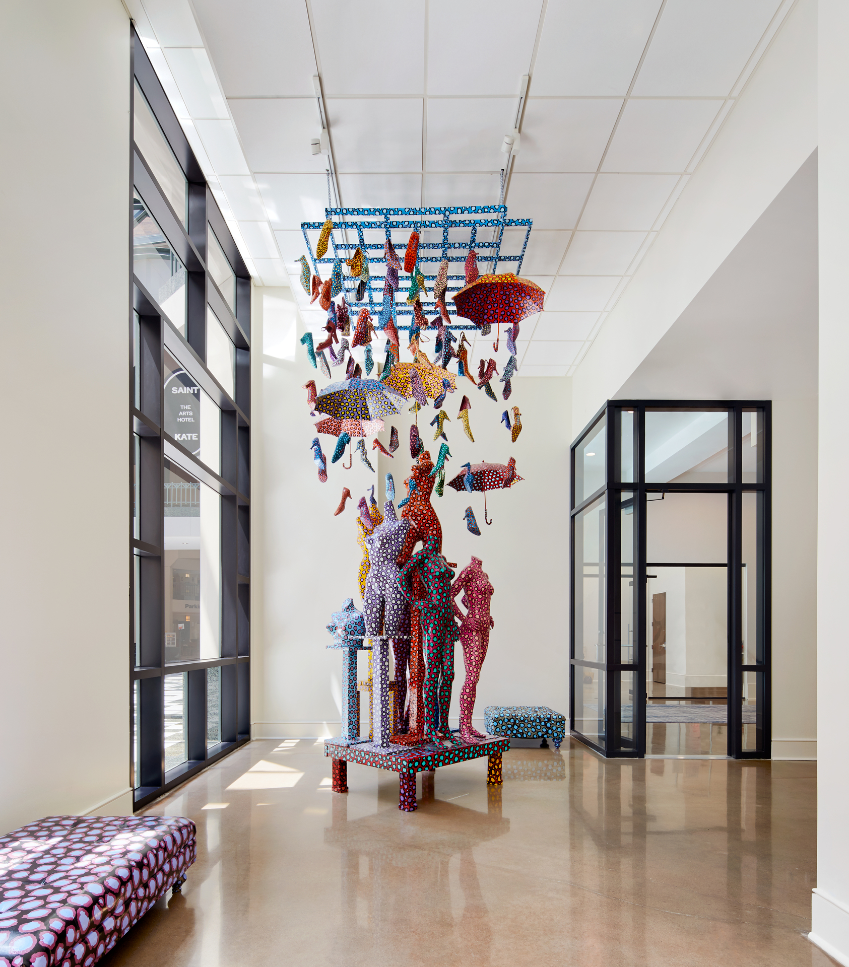 """Art and creativity comprise the backbone of Saint Kate, which features several permanent installations, like """"The Space"""" by Lon Michels."""