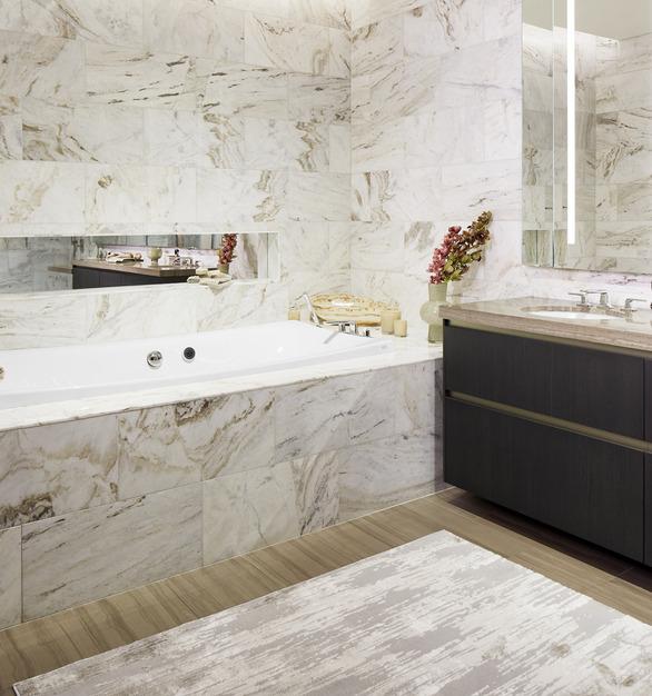 Kohler Kallista Wanda Vista Tower Hotel Condo Bathroom Tile Design Ideas