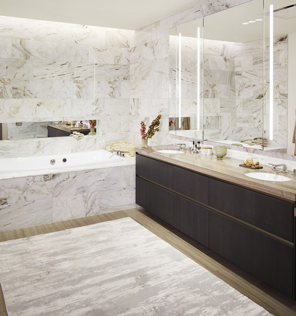 Kohler Kallista Wanda Vista Tower Hotel Condo Bathroom Tub and Vanity Design