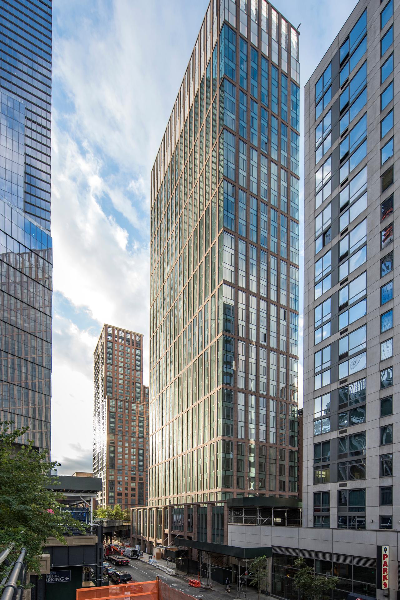The modern exterior design of One Hudson Yards in Manhattan in New York City.