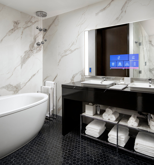 Retaining the integrity of its original design and intricate artistic accents, The Sinclair hotel pays homage to its storied past while keeping an eye to the future with the most cutting-edge technology concepts of any hotel in the United States. Just like the original, The Sinclair blends timeless style with avant-garde innovation. All 164 rooms feature Kohler's DTV+, Composed Faucets, Veil Wall-Hung, or Persuade Toilets.