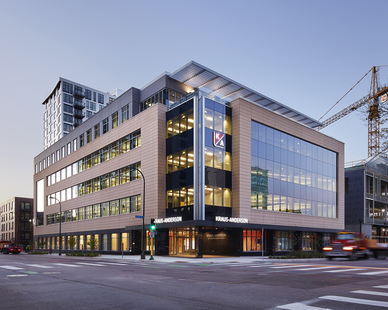 Entrance to the Kraus-Anderson office building in Minneapolis, Minnesota with HQ Apartments directly behind on the left. Meyer Borgman Johnson was the structural engineer of record for this project.