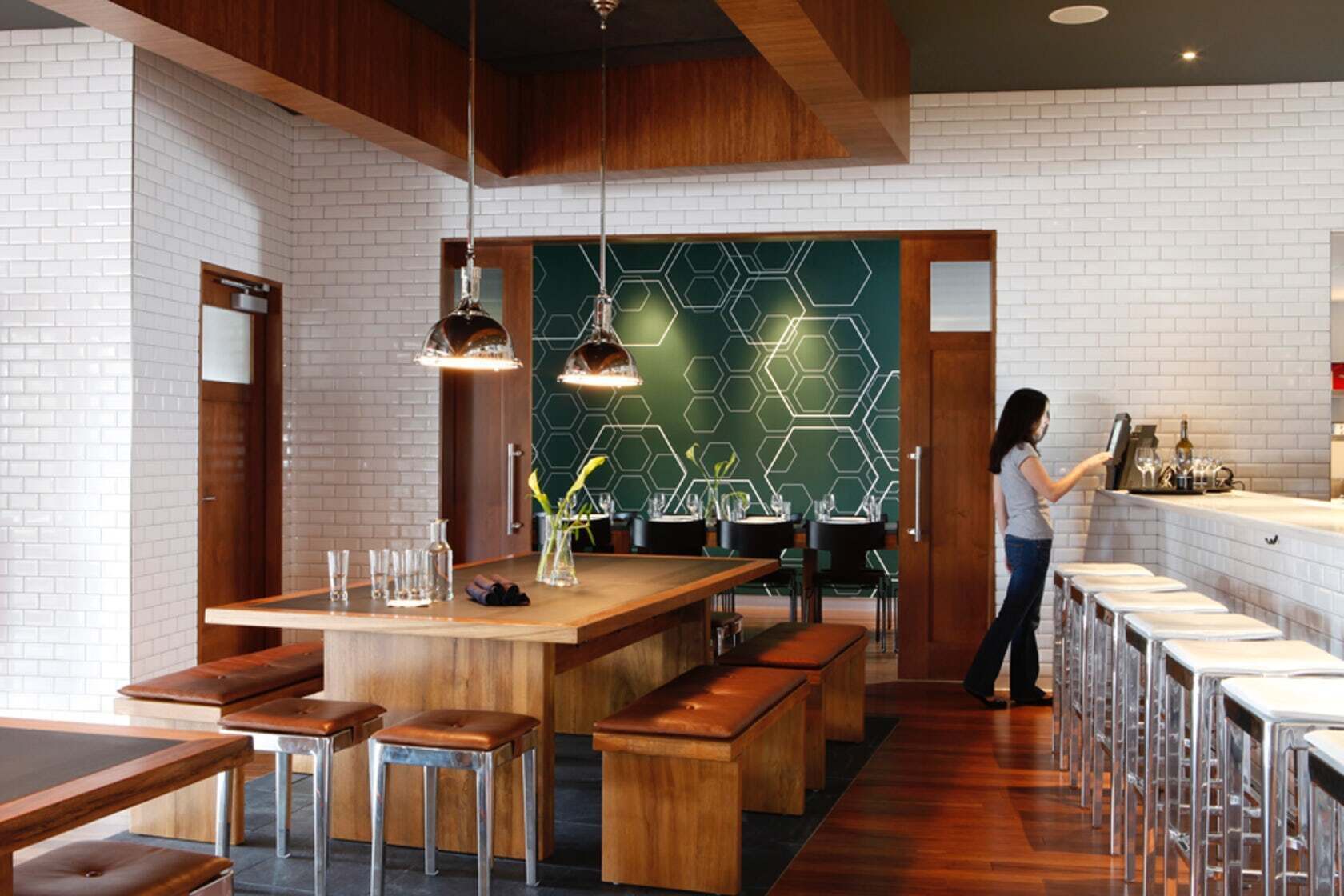 Townsend Leather's Antique Legends Whiskey Tan was used on the bench tops of The Lab Gastropub.