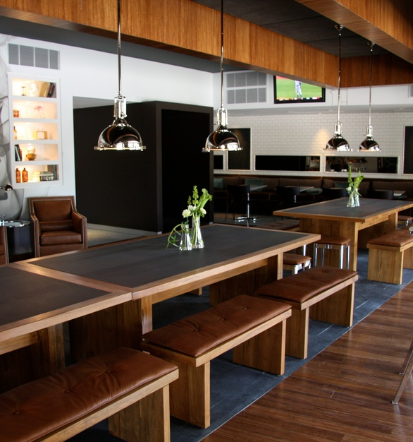 Townsend Leather's Antique Legends Whiskey Tan was used on the bench tops and club chairs of The Lab Gastropub.