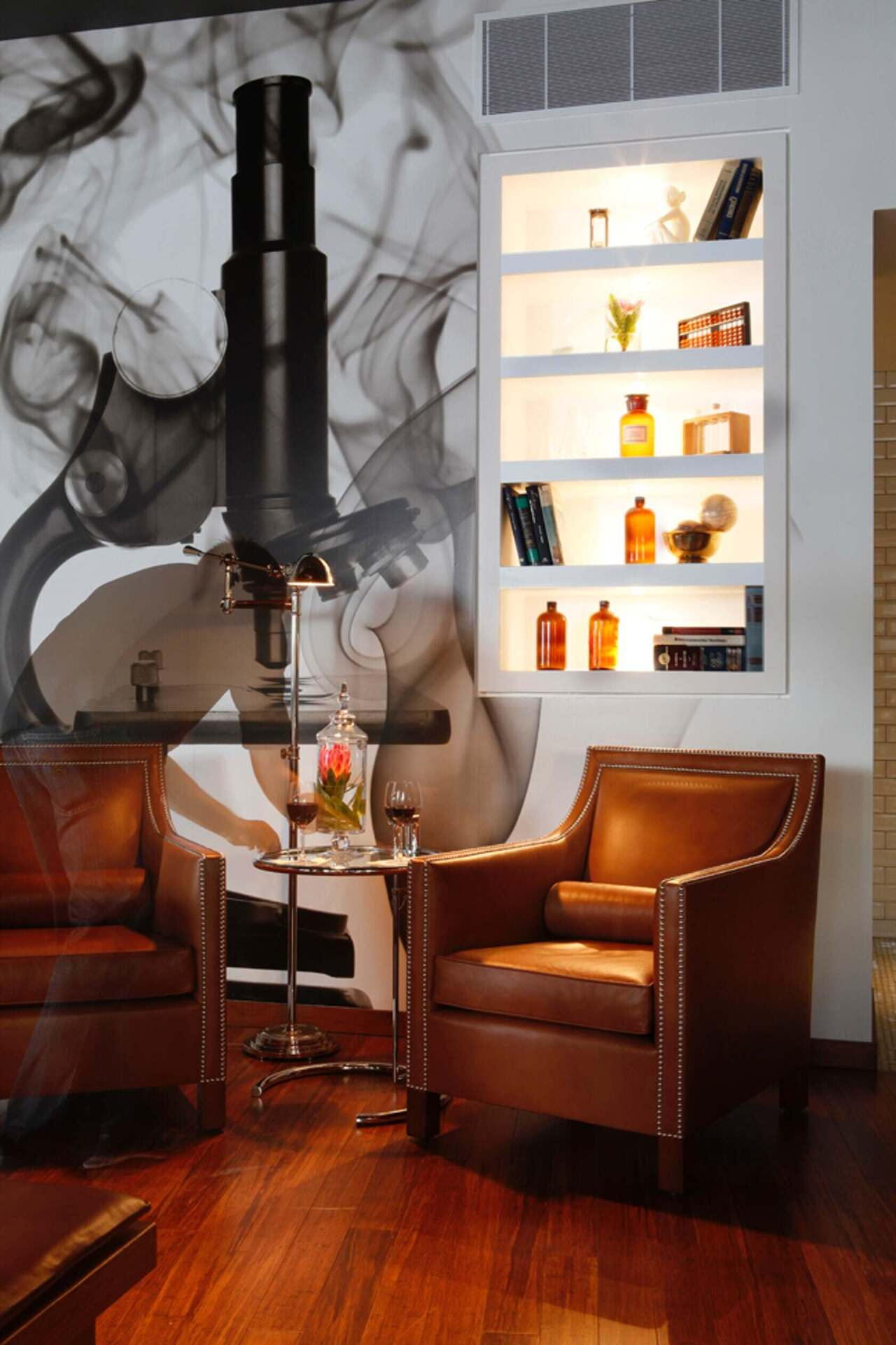 Townsend Leather's Antique Legends Whiskey Tan was used on the club chairs of The Lab Gastropub.