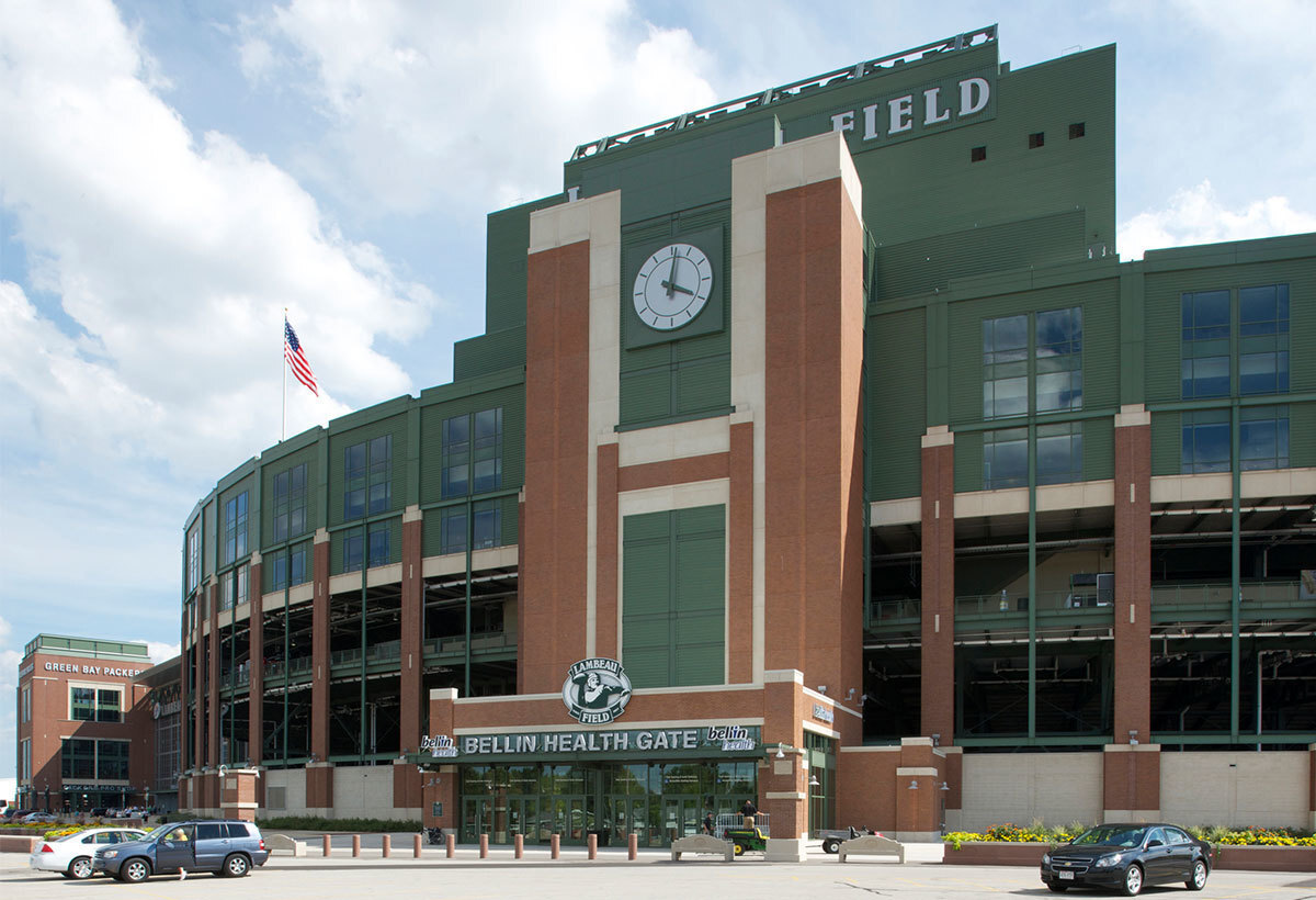 The rejuvenated Bellin Health Gate at Lambeau Field in Green Bay, Wisconsin, constructed by Miron Construction.