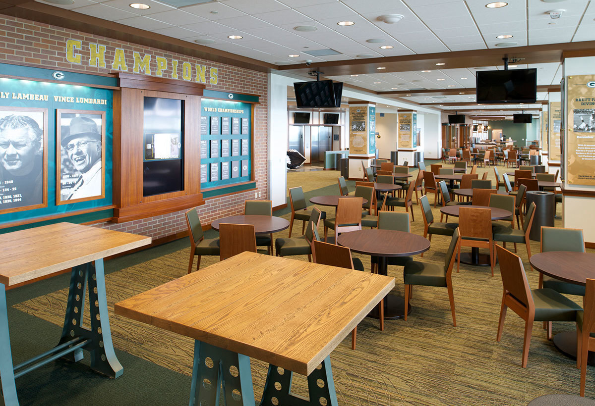 Dining seating and space at Lambeau Field in Green Bay, Wisconsin, by Miron Construction.