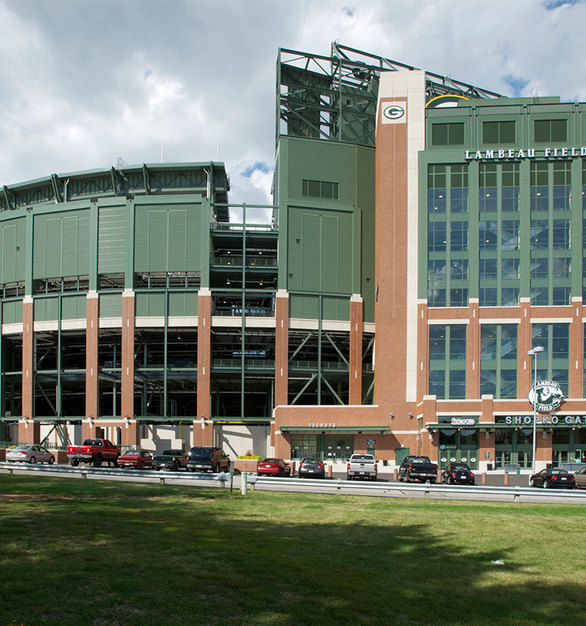 The renovated exterior at Lambeau Field in Green Bay, Wisconsin, by Miron Construction.