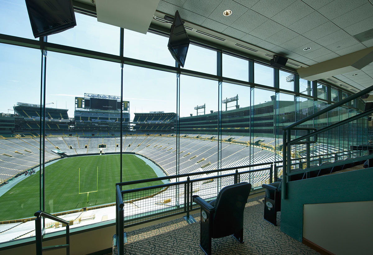 Expansive windows provides a great game experience at Lambeau Field in Green Bay, Wisconsin, constructed by Miron Construction.